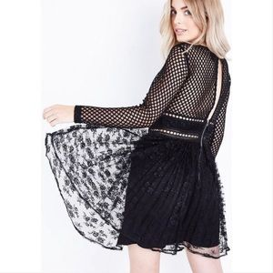 New Look Go Fishnet Black lace dress